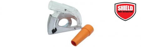 This dust extraction adapter is specifically designed for use with angle grinders.