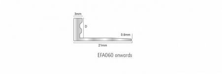 An L shaped extruded aluminium profile designed to provide a solution to the problem of protecting edges of the floor finishes in curved areas. In choosing aluminium as a finishing profile the suitability of its installation must be determined if chemical or mechanical stresses are anticipated.